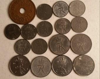17 denmark vintage coins 1940 - 1969 - coin lot ore zinc  - world foreign collector money numismatic a94