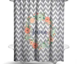 "Personalized Shower Curtain - Grey Chevron Floral Wreath Shower Curtain -70"" X 72"" Washable Polyester Curtain HomeDecor Bathroom Curtain"