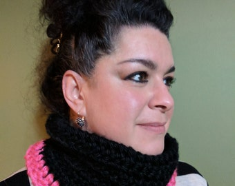 Crochet Cowl Scarf - Two Tone & Bulky