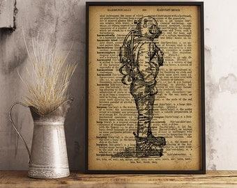 Diving suit printable, Vintage illustration Dictionary Print, Vintage Diving suit, Steampunk art, Cotton Canvas Print, Divers Gift (K18)