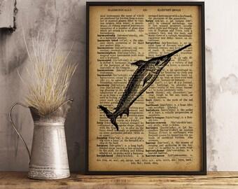 Swordfish print, Swordfish Wall Art, Nautical Wall Art, Vintage Swordfish Illustration dictionary art poster,  predatory fish print (R01)