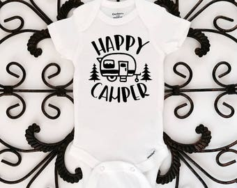 Happy camper onesie, happy camper, bodysuit, kids clothing, onesie, funny