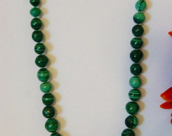 "Green Malachite Necklace- 20"" length"
