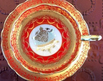 Regal Red and Gold Royal Stafford Teacup and Saucer
