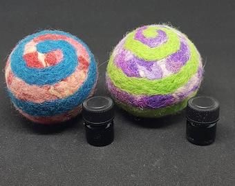 Sensory Ball (Green/Purple) ~ 100% wool, needle-felted spiral fidget ball, focus tool, stress ball