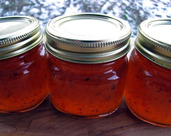Hot Pepper Jelly, 8 ounce, Pepper Jelly, Homemade Jelly, Jam, Jelly