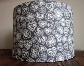 Handmade Lampshade Grey Scandi Hearts