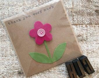 Pink Felt Button Flower Thank You Card
