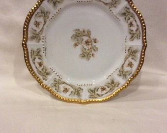 Rare Antique Limoges Plate - gilded gold green and acorns
