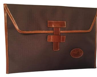 13'' Laptop Sleeve. Natural Leather & Canvas Brown (high-performance).