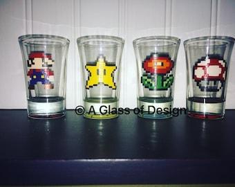 Hand painted Mario glasses, hand painted shot glasses, Mario Bros, 8bit Mario