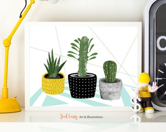 Potted Succulents: Illustrated, bohemian, colorful succulents in rustic, textured and patterned pots art print