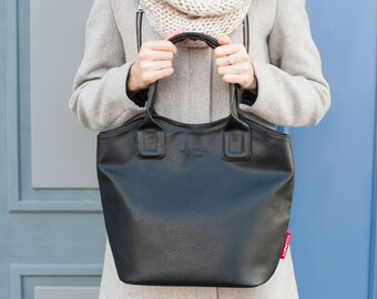 Vegan Leather Zipper Handbag, Soft Leather Zipper Handbag, Everyday Vegan Leather Zipper Bag, PU Leather Bag