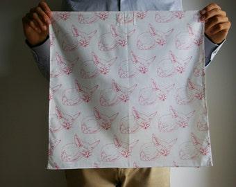 """SALE 25% organic cotton - 45 x 45 voile Furoshiki """"Les Fennecs"""" / 55 x 55 cm"""