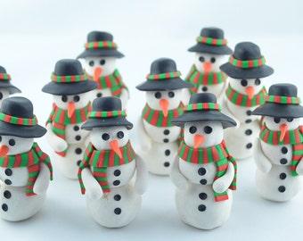 Snowman Christmas decoration, handmade snowman, winter decoration, original gift idea, Snowman clay figurine, Christmas gift,
