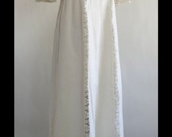 1970s off white cotton maxi dress- xs/s- boho- vintage dress- lace detail