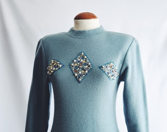 Dress Jersey blue with Rhinestones.