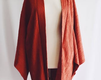 Vintage red silk Kimono with relief