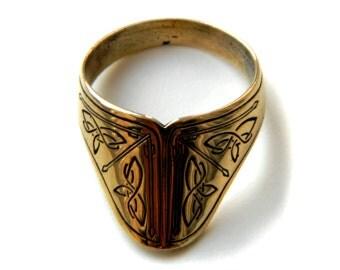 Archer's Ring Arrow ring Pagan ring Bronze ring Scandinavian ornament Etnic design Arrow jewelry Thumb ring Archer ring  Archer jewelry Ring