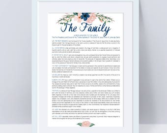 LDS Family Proclamation, LDS Wall Art, Printable, Instant Download, LDS watercolor art, Watercolor flowers, Home Decor, Family, 8x10, 18x24