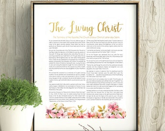 LDS Living Christ, LDS Wall Art, Printable, Instant Download, LDS coral gold art, Watercolor flowers
