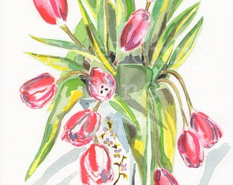 Tulip watercolor , Tulips painting, Flower painting, Floral print, Tulips in a vase art, Gallery wall art, Collectible art, Tamara Jare art