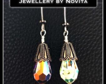 Teardrop Swarovski with sterling silver hardware earrings jewellerybynovita