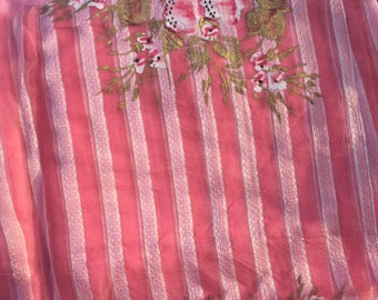 Sari Fabric Pink Organza Hand Painted