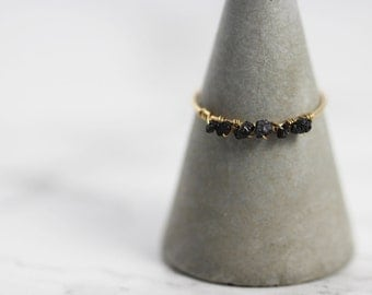 Uncut, Raw Black Diamond Wire-Wrapped Ring on a Super Thin 14kt Gold-filled Band