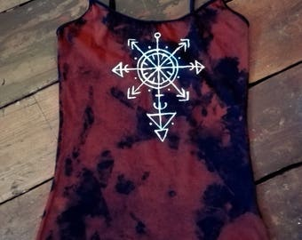 Hand dyed unique black brown acid dye top with handpainted pagan symbol size S