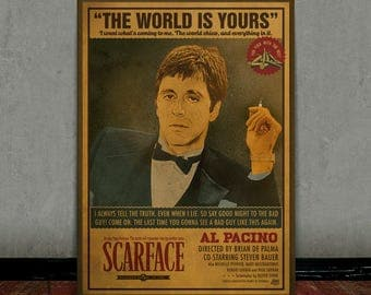 Scarface, Tony Montana, Al Pacino, Colored retro classic movie poster