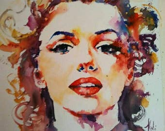 Marilyn Monroe on Watercolor