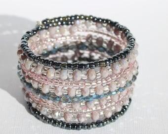 Ladies Bracelet, Wrap Bracelet, Summer Accessory, Ten times Wrap, Memory Wire Bangle, Jewellery, Bracelet, Beaded Memory Wire,
