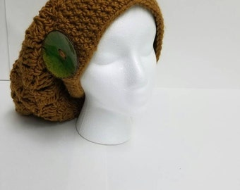 Shell stitch slouch hat