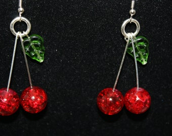 Lolita Rockabilly 50's Pin Up Cherry Dangle Earrings Handmade Cherry Bomb Rockabilly Dangle Earrings Ruby Red Crackle Glass VERSION 2