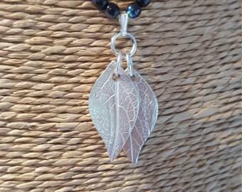 Personalised silver leaf pendant, leaf necklace, silver leaf pendant, handprint necklace, handprint keyring