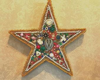 Mosaic Star, Abstract Wall Art, Jewelry Wall Art, Boho Decor, Repurposed Jewelry, Upcycled Jewelry Art, Jewelry Star, Jeweled Star