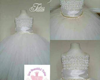 Ivory Flower Girl Tutu Dress - Tulle - Formal - Wedding - Bridesmaid - 3D Flowers - Ball Gown