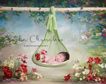 digital backdrop  background newborn baby girl hanging branch green flowers