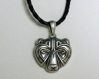 Bear Pendant - Slavic Bear Pendant - Wiccan, Celtic, Viking, Norse Slavic Animal - Gift for Him - Mens necklace - silver pendant - jewelry