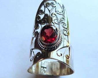 Natural Garnet Ring Red Garnet Faceted Ring Sterling Silver Ring Red Garnet Gemstone Ring 925 Solid Sterling Silver Garnet Ring Size9.1 E637