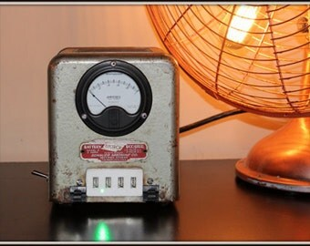 USB Battery Power Charger - Booster - Antique - Vintage - Louvered Gray Box - Dieselpunk 1 /Deco Punk