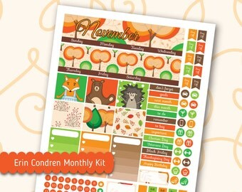 November Monthly Kit for Erin Condren Lifeplanner™ Woodland Animal Planner Stickers Printable Silhouette Cut File Fall Stickers Monthly Kit