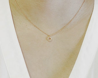 14K Solid Gold Disc Diamond Necklace Circle Necklace Circle Diamond Charm Necklace Dainty Necklace