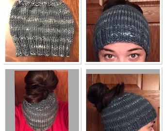 KNIT Bulky Ponytail/Messy bun hat pattern
