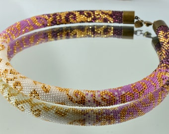 Bead Rope Necklace, Contemporary Beadwork Necklace, Bead Crochet Jewelry