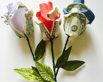 Origami Money Rose, Money Origami, Money Art, Paper Flowers, Origami Rose