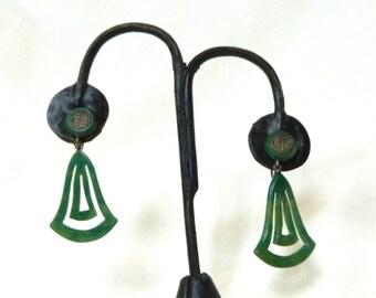 Bakelite Era Oriental Drop Earrings