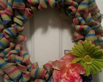 Striped Burlap wreath