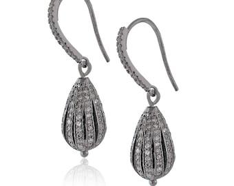 Pave Diamond 925 Silver Dangle Earrings